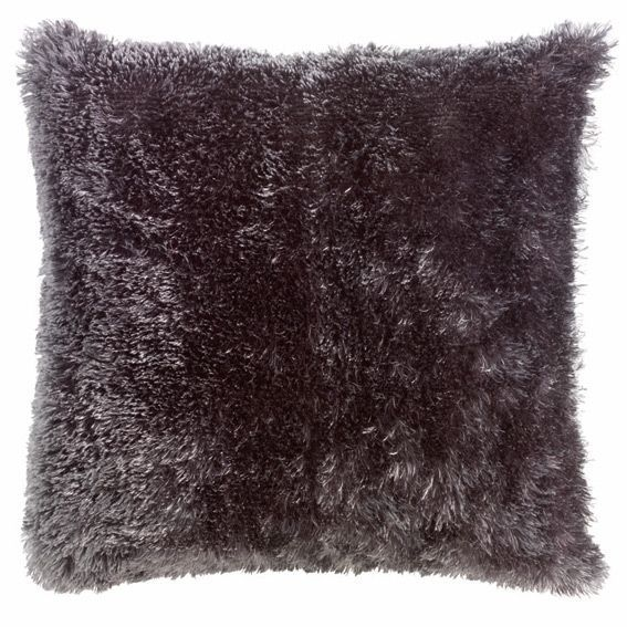 housse de coussin imitation fourrure gris anthracite. Black Bedroom Furniture Sets. Home Design Ideas