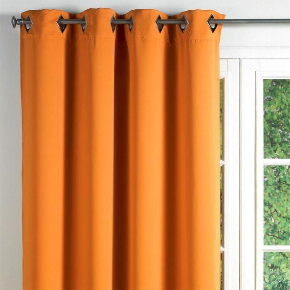 rideau occultant 140 x h260 cm cocoon orange rideau occultant eminza. Black Bedroom Furniture Sets. Home Design Ideas