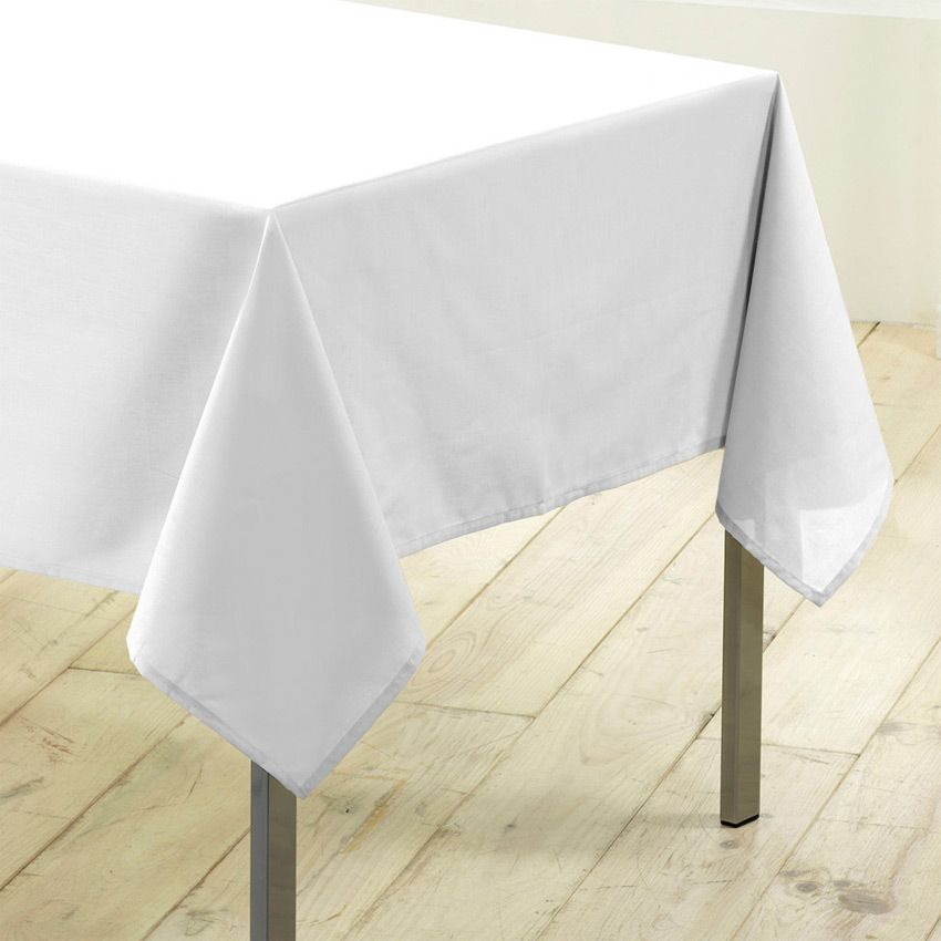 nappe rectangulaire l200 cm gamme essentiel blanc nappe de table eminza. Black Bedroom Furniture Sets. Home Design Ideas