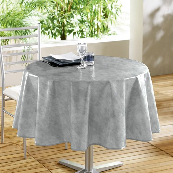 nappe ronde b ton cir gris toile cir e linge de table eminza. Black Bedroom Furniture Sets. Home Design Ideas