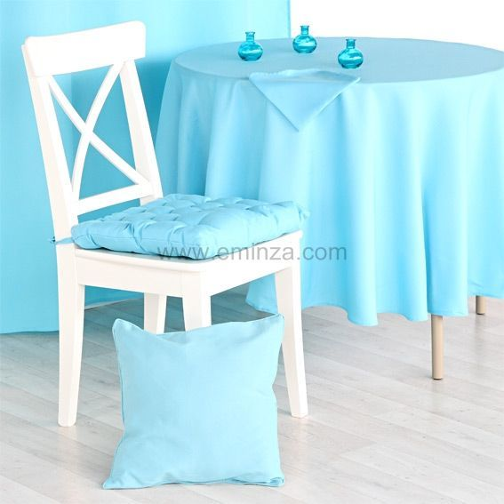 Nappe ronde essentiel turquoise nappe de table eminza - Nappe de table ronde ...