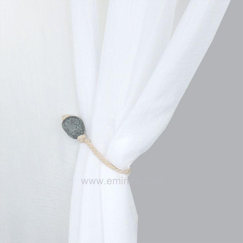 embrasse galets corde gris embrasse pince et d coration eminza. Black Bedroom Furniture Sets. Home Design Ideas