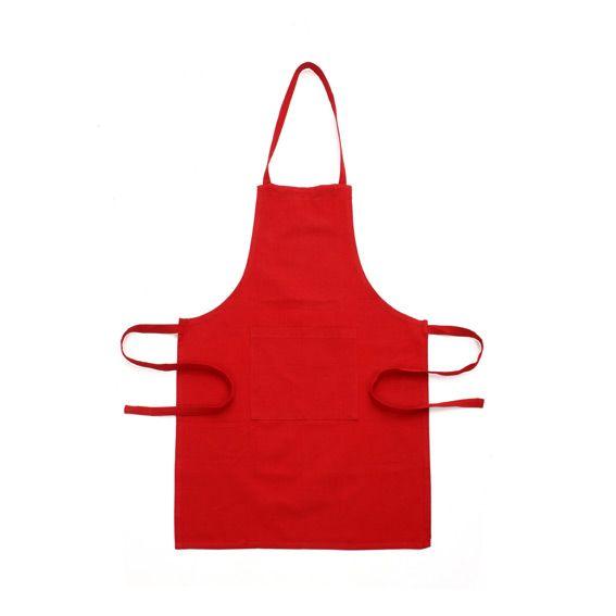 Tablier avec poche uni rouge accessoires cuisine eminza for Tablier de cuisine uni