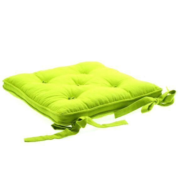 Coussin de chaise 5 boutons vert anis galette et coussin - Coussin galette chaise ...