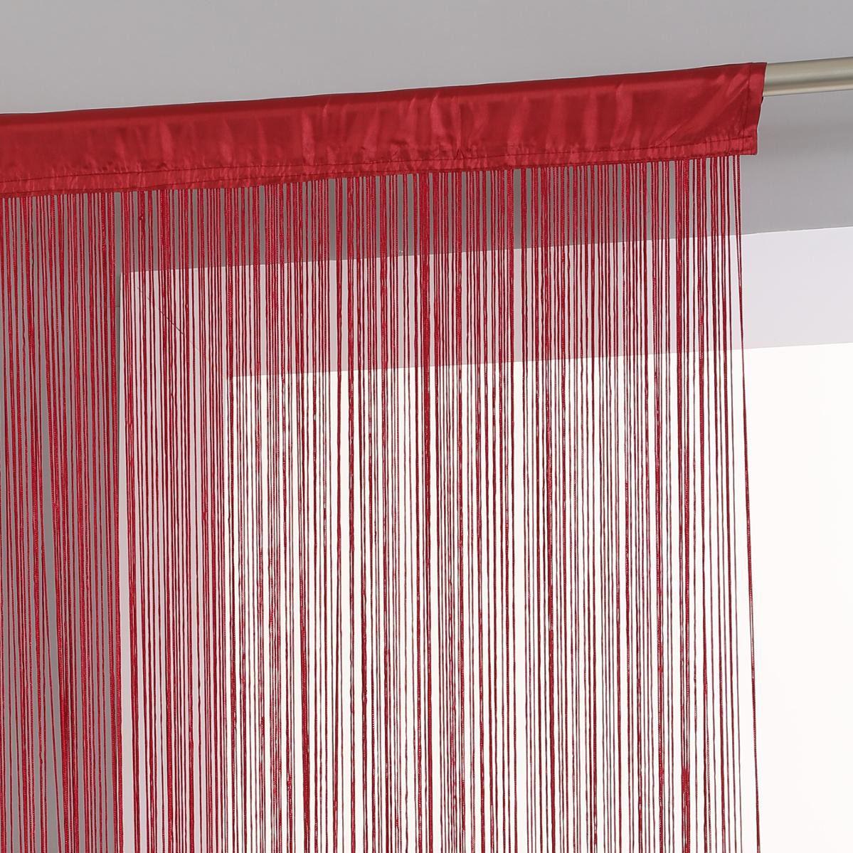 rideau de fil 90 x h200 cm uni rouge rideau de porte. Black Bedroom Furniture Sets. Home Design Ideas