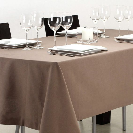 nappe rectangulaire l240 cm uni taupe nappe de table eminza. Black Bedroom Furniture Sets. Home Design Ideas