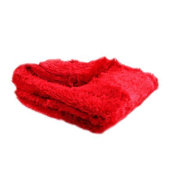 plaid imitation fourrure peluche rouge plaid fausse. Black Bedroom Furniture Sets. Home Design Ideas