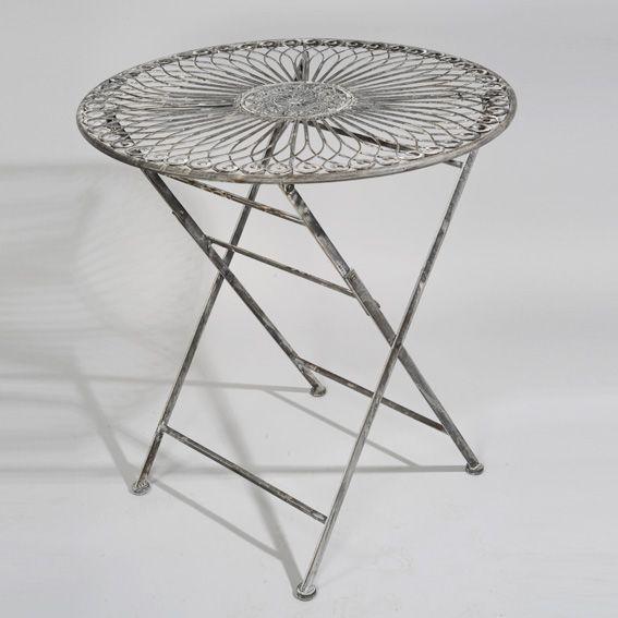 Table de jardin iris style fer forg gris mobilier style fer forg eminza - Table de jardin metal gris ...