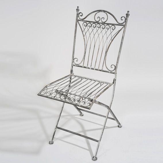 Lot de 2 chaises de jardin pliante style fer forg gris for Chaises de jardin en fer