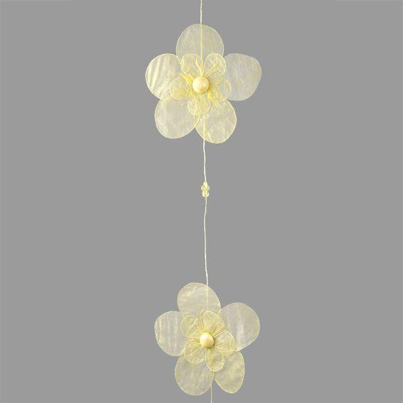 guirlande de fleurs pour rideaux jaune embrasse pince et d coration eminza. Black Bedroom Furniture Sets. Home Design Ideas