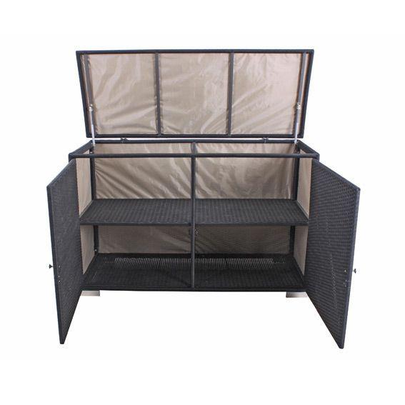 Coffre de rangement punta cana noir petit mobilier de for Meuble de rangement de jardin