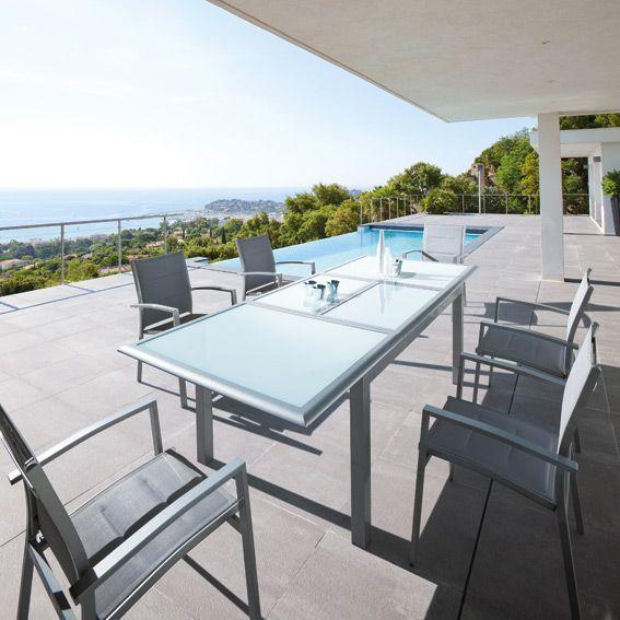 Fauteuil de jardin empilable azua gris chaise et fauteuil de jardin eminza - Salon de jardin hesperide azua gris ...