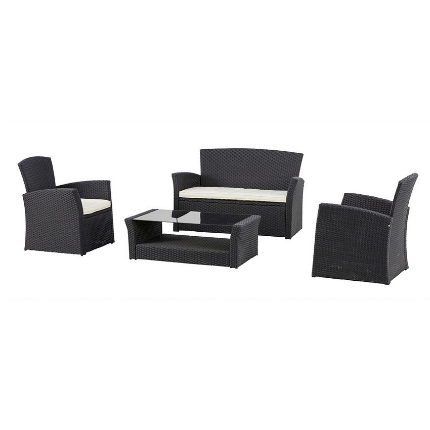 salon de jardin bora bora noir 4 places salon de jardin eminza. Black Bedroom Furniture Sets. Home Design Ideas