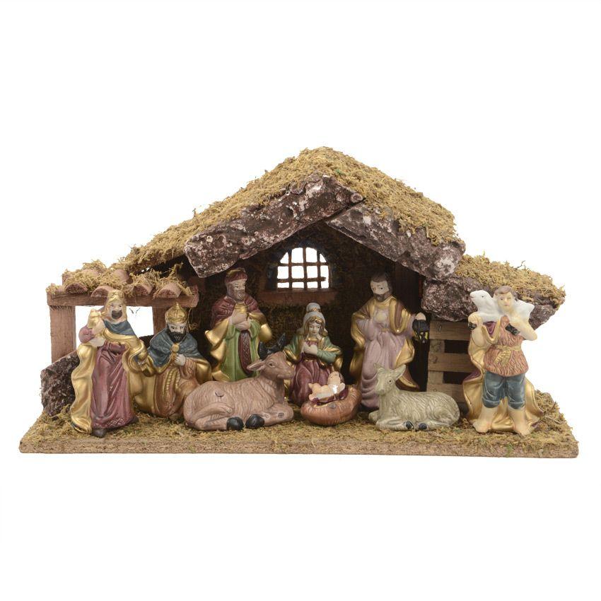 Cr che de no l compl te saint joseph cr che avec santons for Decoration fenetre creche