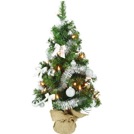 Sapin artificiel de table pr illumin maxum h60 cm argent sapin de table eminza - Mini sapin de noel artificiel ...
