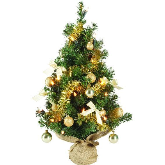 Sapin artificiel de table pr illumin maxum h60 cm or - Petit sapin de noel de table ...