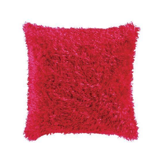 Housse de coussin imitation fourrure rouge coussin et for Housse coussin rouge