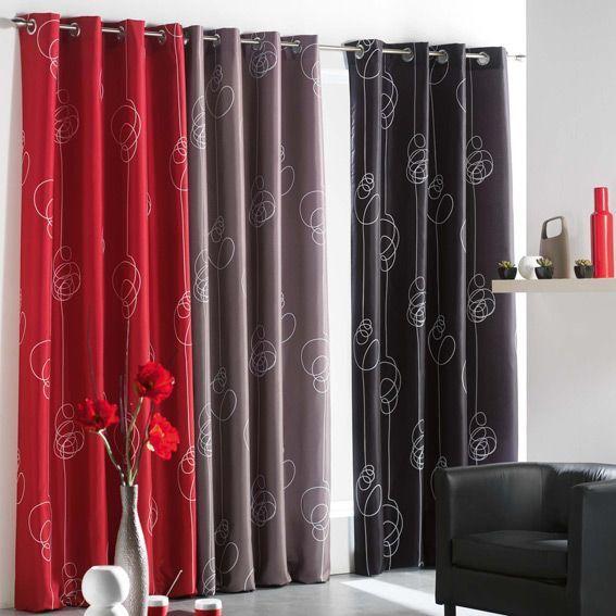 rideau oeillets looping noir rideau tamisant eminza. Black Bedroom Furniture Sets. Home Design Ideas