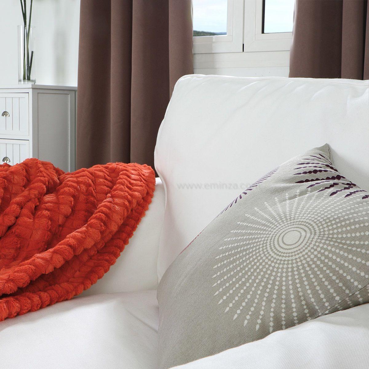 plaid doux 160 cm lynx brique plaid cocooning eminza. Black Bedroom Furniture Sets. Home Design Ideas