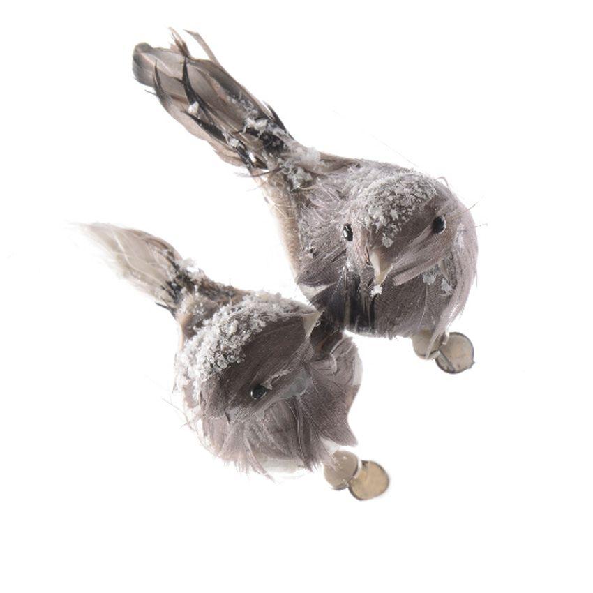 lot de 2 oiseaux plume gris d coration suspendre eminza. Black Bedroom Furniture Sets. Home Design Ideas