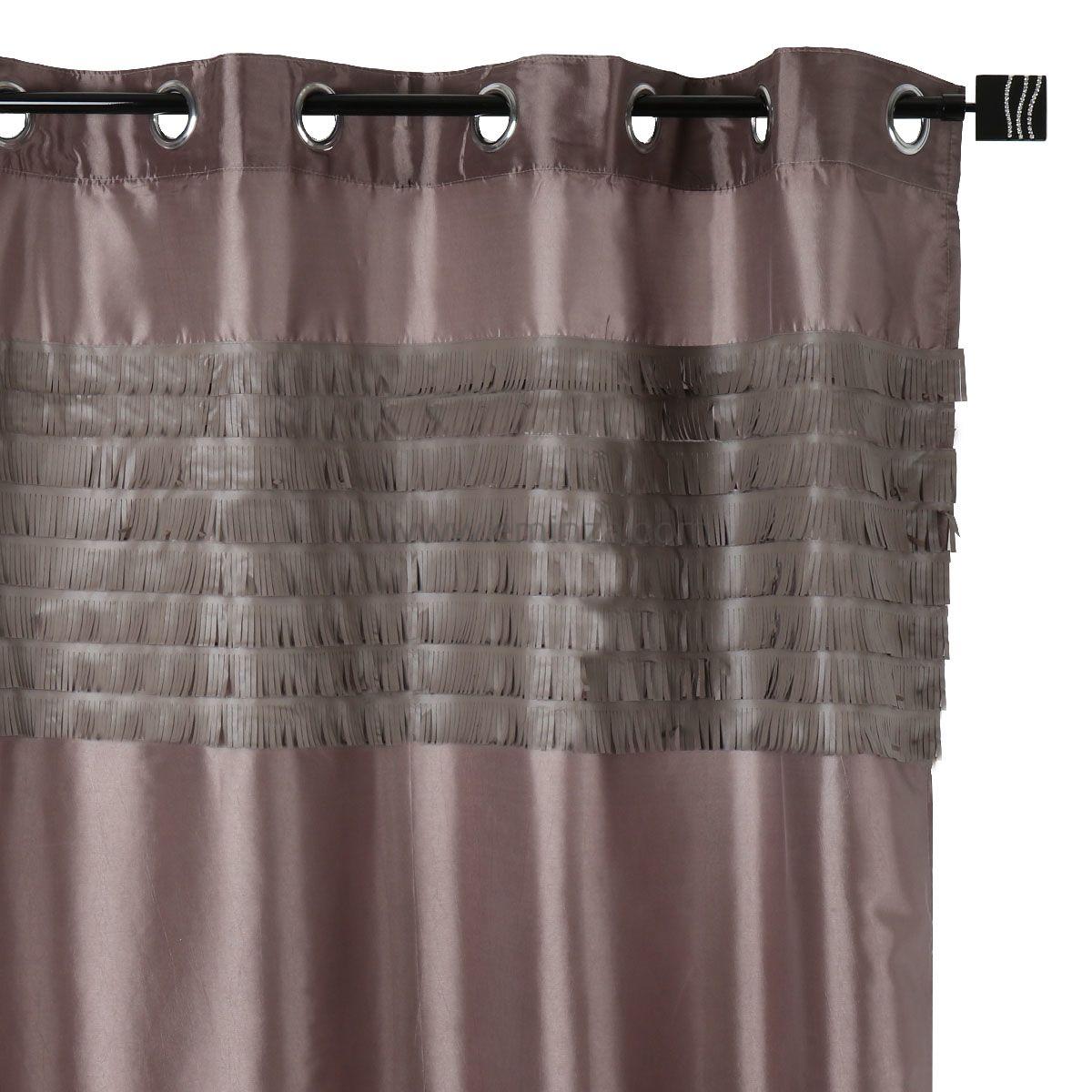 rideau 140 x h240 cm franges taupe rideau tamisant. Black Bedroom Furniture Sets. Home Design Ideas