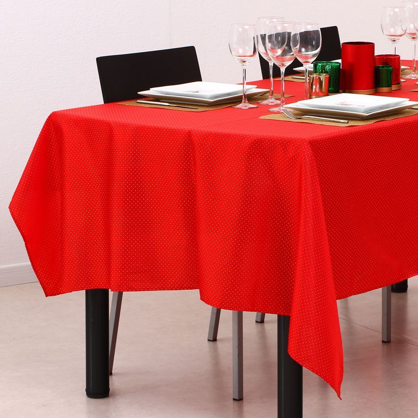 nappe rectangulaire l240 cm picot rouge nappe de table eminza. Black Bedroom Furniture Sets. Home Design Ideas