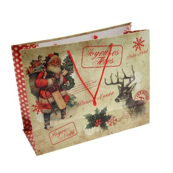 Sac cadeau h26 cm traditionnel emballages cadeaux eminza - Sac cadeau noel ...