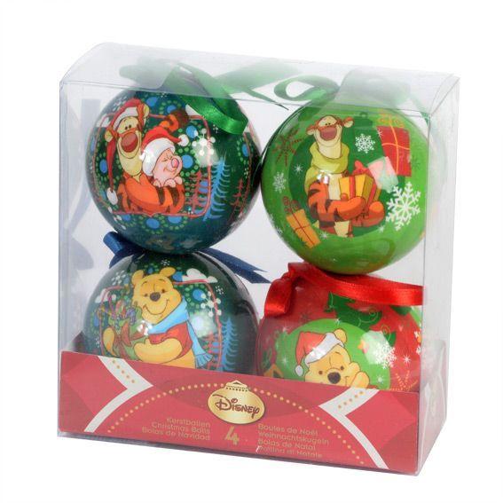 Lot de 4 boules de no l disney winnie l 39 ourson boule de no l eminza - Boule de noel disney ...