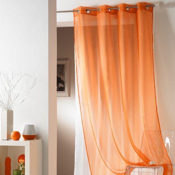voilage 140 x h240 cm tulipe double orange voilage eminza. Black Bedroom Furniture Sets. Home Design Ideas