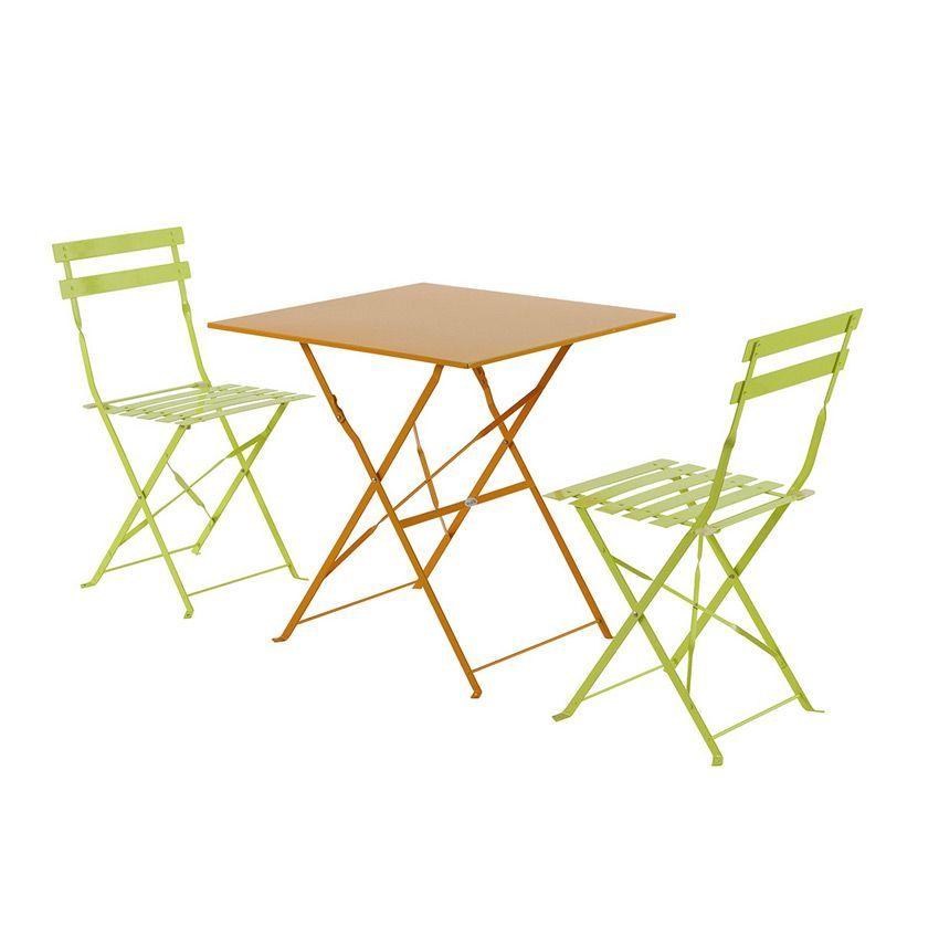 Table de jardin pliante m tal camargue 70 x 70 cm for Table de jardin metal pliante