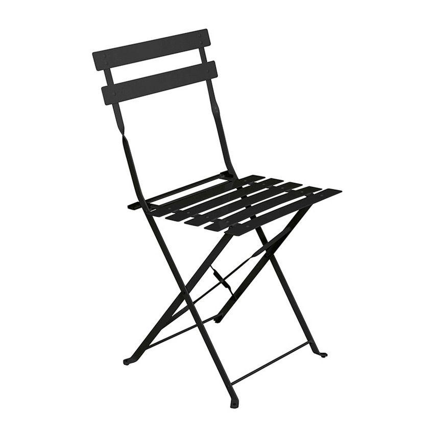 lot de 2 chaises de jardin pliantes camargue noir chaise et fauteuil de jardin eminza. Black Bedroom Furniture Sets. Home Design Ideas
