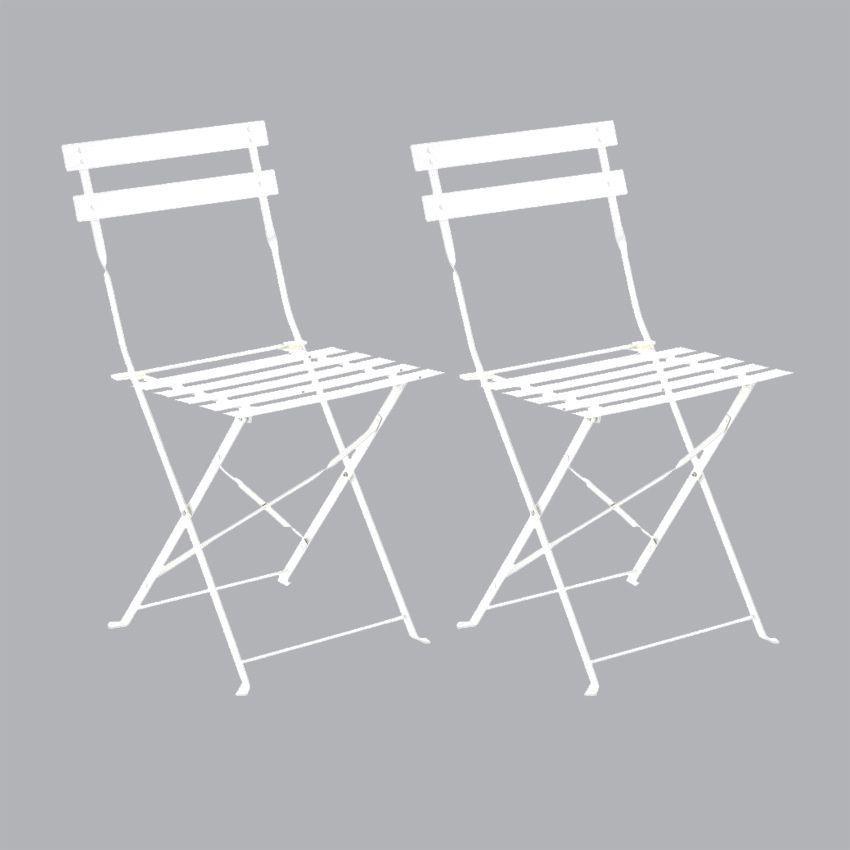 lot de 2 chaises de jardin pliantes camargue blanc chaise et fauteuil de jardin eminza. Black Bedroom Furniture Sets. Home Design Ideas