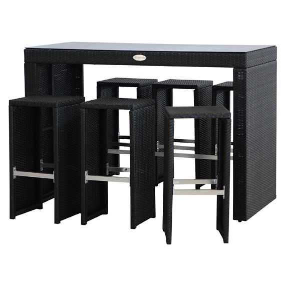 salon de jardin haut tinos noir 7 pi ces salon de. Black Bedroom Furniture Sets. Home Design Ideas