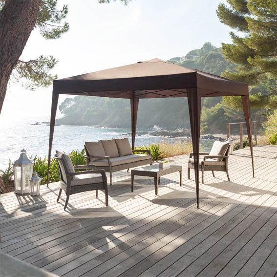 tonnelle pliante easy up 3 x 3 m chocolat tonnelle et pergola eminza. Black Bedroom Furniture Sets. Home Design Ideas