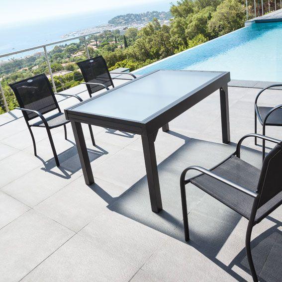 Table jardin verre et metal