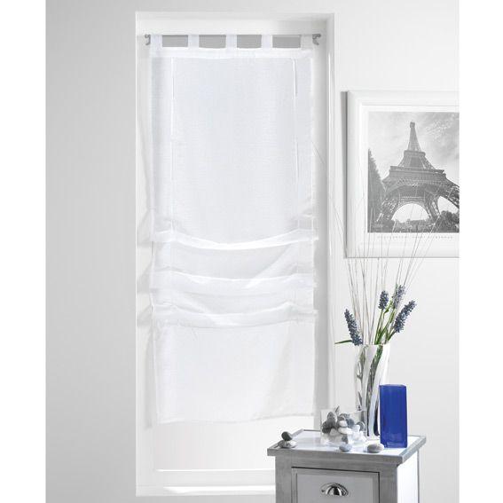 Store voilage droit 60 cm lissea blanc store voilage eminza - Linge de maison blanc ...