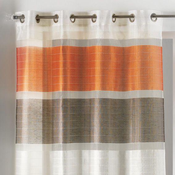 voilage 140 x h240 cm trio orange voilage eminza. Black Bedroom Furniture Sets. Home Design Ideas