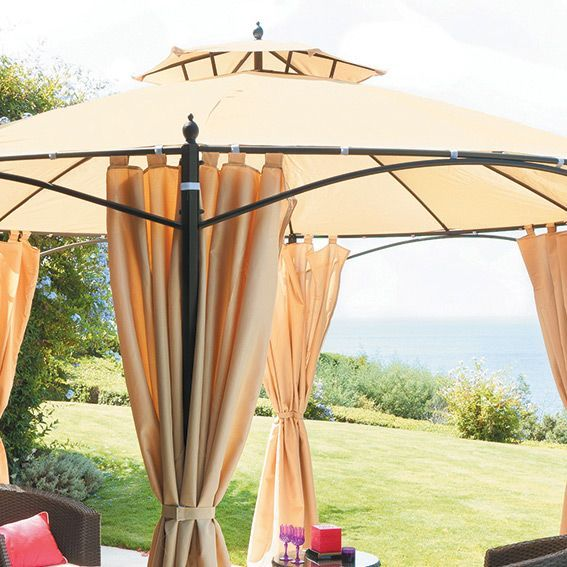 Toile de tonnelle ronde iloha d3 6 m beige structure toile et rideaux - Tonnelle de jardin ronde ...