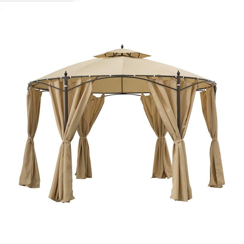 toile de tonnelle ronde iloha d3 6 m beige structure. Black Bedroom Furniture Sets. Home Design Ideas