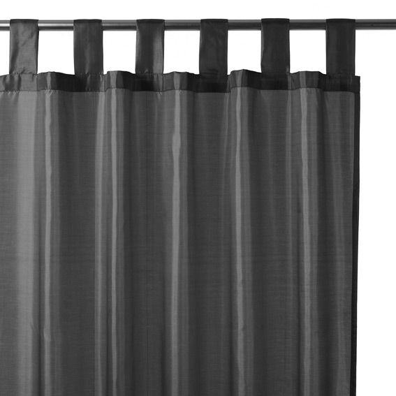rideau passants satin gris fonc rideau tamisant eminza. Black Bedroom Furniture Sets. Home Design Ideas