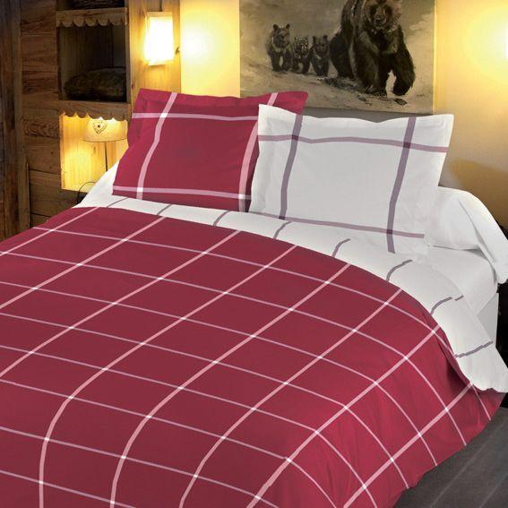 housse de couette 240 cm et deux taies carreau rouge housse de couette eminza. Black Bedroom Furniture Sets. Home Design Ideas