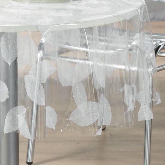 Nappe cir e ronde d140 cm feuille cristal linge de for Nappe de table transparente
