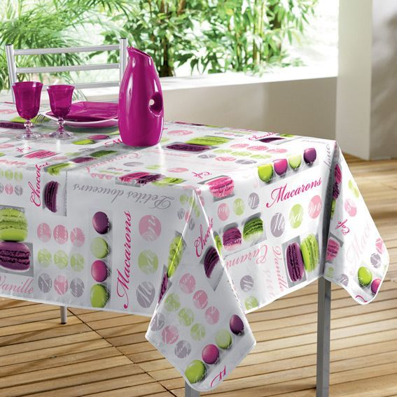 nappe cir e rectangulaire l240 cm macarons rose nappe de table eminza. Black Bedroom Furniture Sets. Home Design Ideas