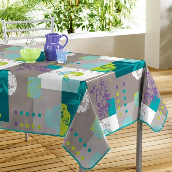 nappe rectangulaire oxalis turquoise toile cir e linge de table eminza. Black Bedroom Furniture Sets. Home Design Ideas