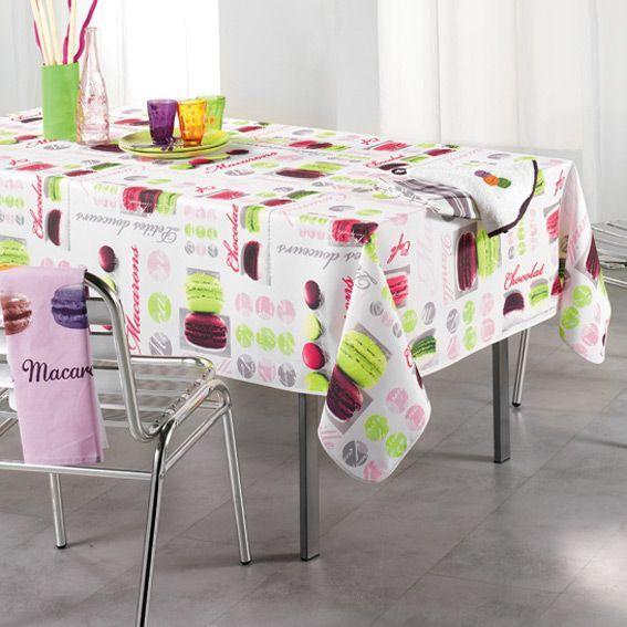 Nappe rectangulaire l240 cm macarons blanc nappe de for Nappe de table rectangulaire