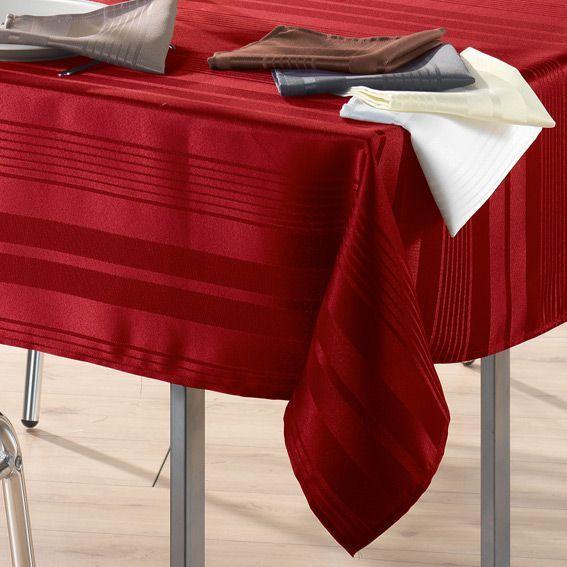 Nappe rectangulaire l250 cm smart jacquard rouge nappe - Nappe table rectangulaire ...