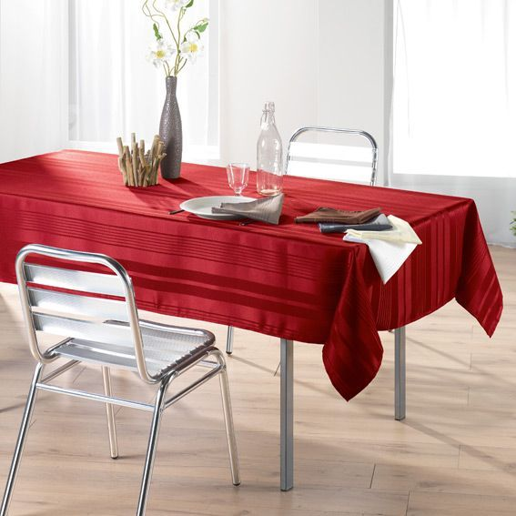 nappe rectangulaire l300 cm smart jacquard rouge nappe de table eminza. Black Bedroom Furniture Sets. Home Design Ideas