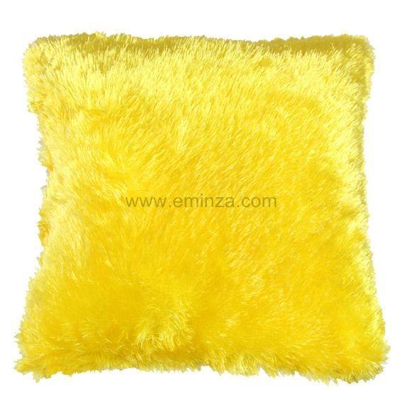Coussin douceur peluche jaune coussin et housse de coussin eminza - Housse coussin jaune ...