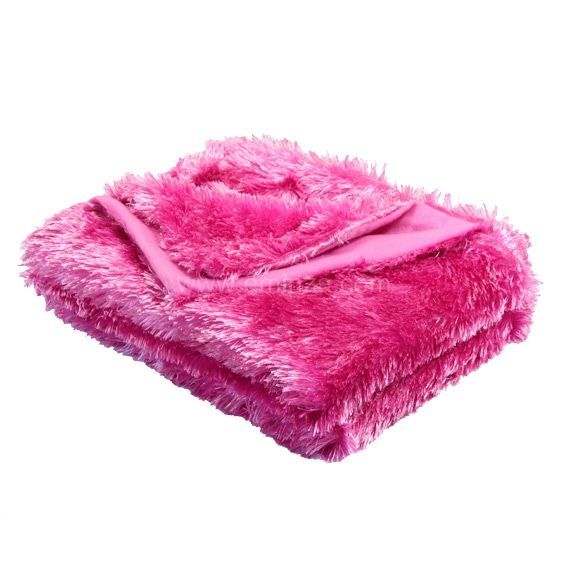 Plaid imitation fourrure peluche rose plaid fausse - Plaid fausse fourrure rose ...