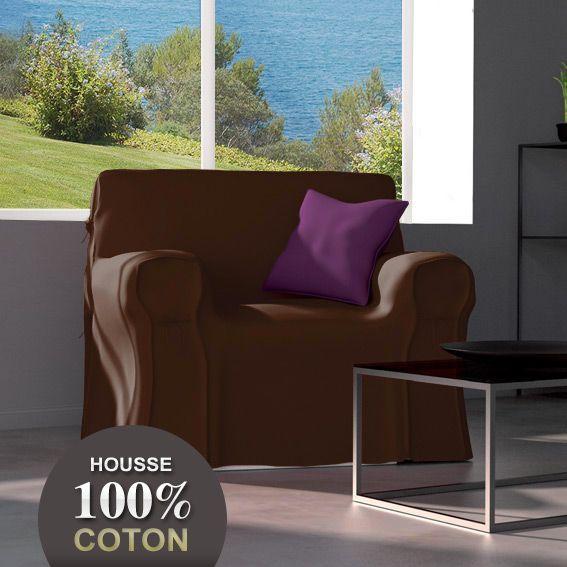 Housse de fauteuil gamme contemporaine chocolat housse de fauteuil eminza - Housse de canape chocolat ...